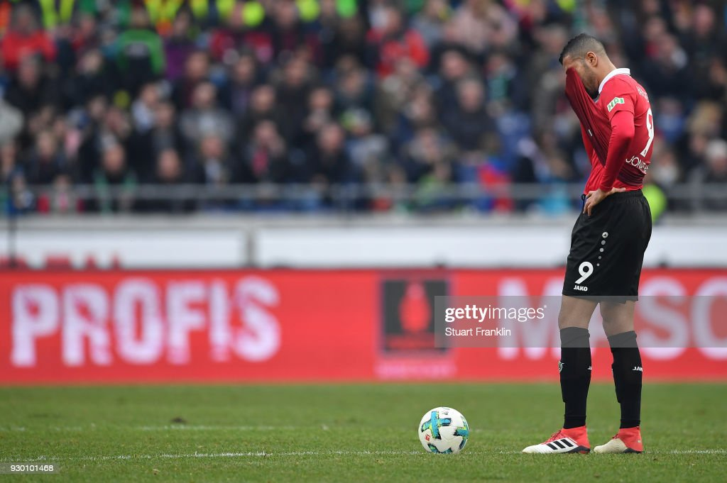 Jonathas of Hannover looks dejected during the Bundesliga match between Hannover 96 and FC Augsburg at HDI-Arena on March 10, 2018 in Hanover, Germany.