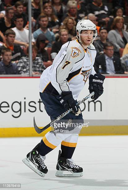 Jonathon Blum of the Nashville Predators skates against the Anaheim Ducks in Game Two of the Western Conference Quarterfinals during the 2011 NHL...