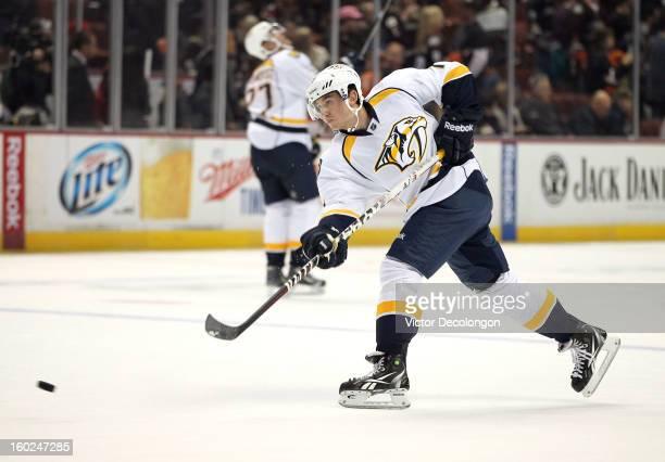 Jonathon Blum of the Nashville Predators skates during warmup prior to the NHL game against the Anaheim Ducks at Honda Center on January 26 2013 in...