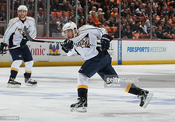 Jonathon Blum of the Nashville Predators takes a shot against the Anaheim Ducks in Game One of the Western Conference Quarterfinals during the 2011...