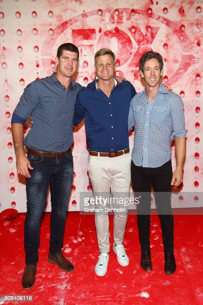 Jonathon Brown Nick Riewoldt and Bob Murphy pose during the 2018 FOX FOOTY AFL Season Launch on March 7 2018 in Melbourne Australia