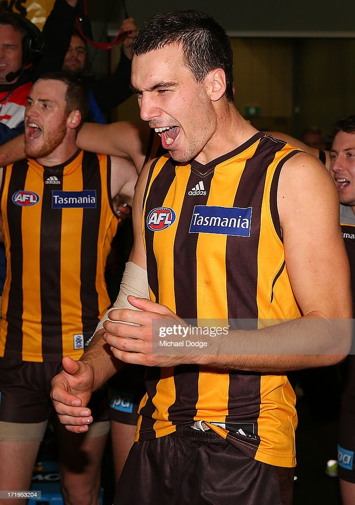 Jonathon Ceglar of the Hawks celebrates the win during the round 14 AFL match between the Hawthorn Hawks and the Brisbane Lions at Aurora Stadium on June 30, 2013 in Launceston, Australia.