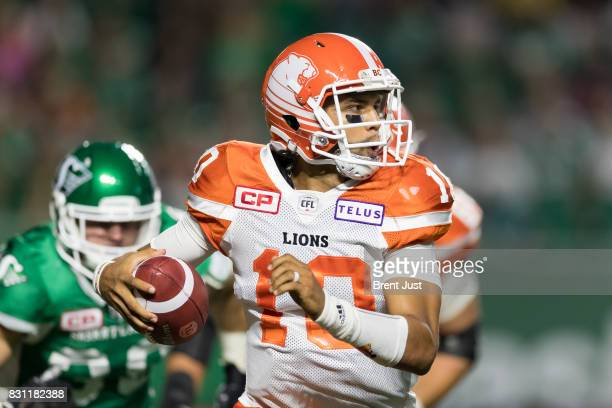 Jonathon Jennings of the BC Lions scrambles out of the pocket in second half action of the game between the BC Lions and the Saskatchewan Roughriders...