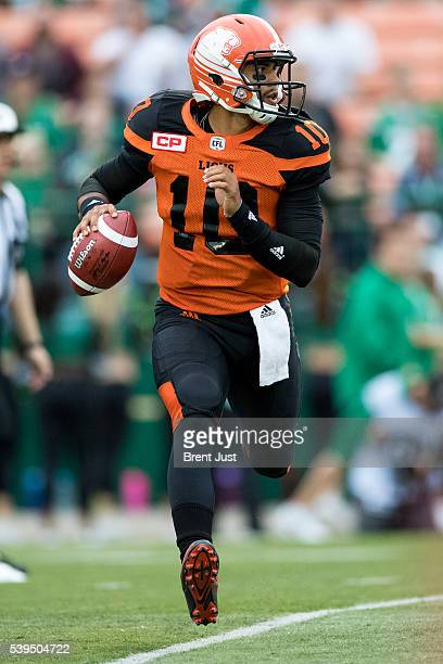 Jonathon Jennings of the BC Lions scrambles with the ball in the preseason game between the BC Lions and Saskatchewan Roughriders at Mosaic Stadium...