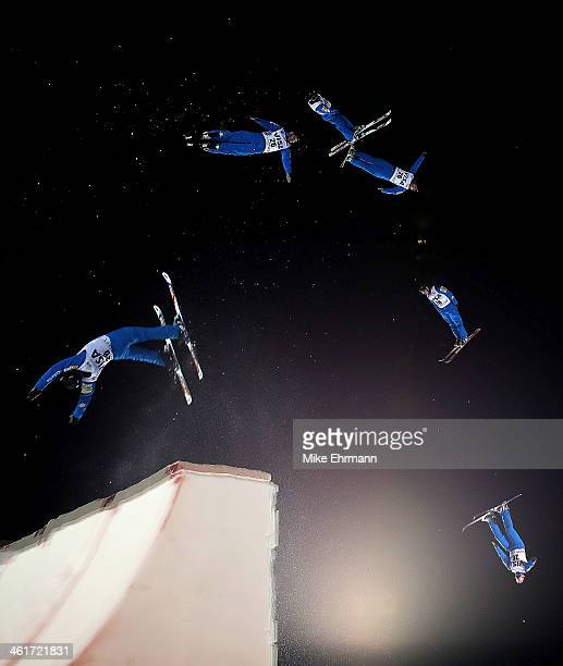 Jonathon Lillis competes during the finals for the Mens Aerials at the FIS Freestyle Ski World Cup Aerial Competition at Deer Valley on January 10...