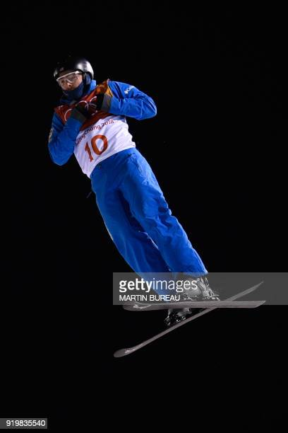 US Jonathon Lillis competes in the men's aerials final during the Pyeongchang 2018 Winter Olympic Games at the Phoenix Park in Pyeongchang on...