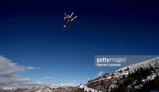 Jonathon Lillis jumps while training for the Mens Aerials during the Visa Freestyle International at Deer Valley on February 1 2013 in Park City Utah