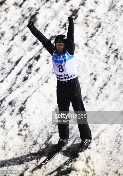 Jonathon Lillis of the United States celebrates during the Men's Aerials Final on day three of the FIS Freestyle Ski and Snowboard World...