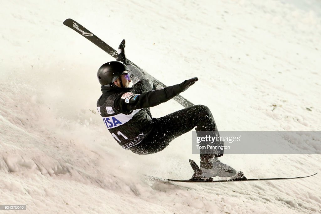Jonathon Lillis of the United States crashes during the Men's Aerials Finals during the 2018 FIS Freestyle Ski World Cup at Deer Valley Resort on January 12, 2018 in Park City, Utah.