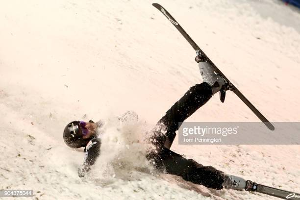 Jonathon Lillis of the United States crashes during the Men's Aerials Finals during the 2018 FIS Freestyle Ski World Cup at Deer Valley Resort on...