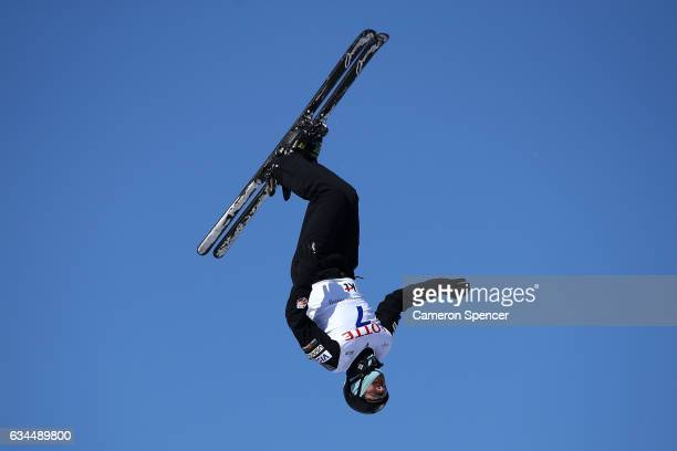 Jonathon Lillis of the United States performs an aerial during qualification in the FIS Freestyle Ski World Cup 2016/17 Mens Aerials at Bokwang Snow...