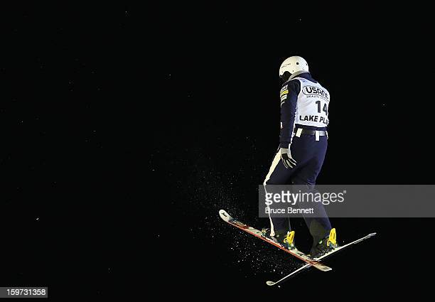 Jonathon Lillis of the USA jumps in the qualification round at the USANA Freestyle World Cup aerial competition at the Lake Placid Olympic Jumping...