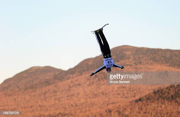 Jonathon Lillis of the USA practices prior to the USANA Freestyle World Cup aerial competition at the Lake Placid Olympic Jumping Complex on January...