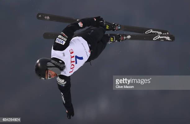 Jonathon Lillis of USA in action during mens aerials traing prior to the FIS Freestyle World Cup at Bokwang Snow Park on February 8 2017 in...