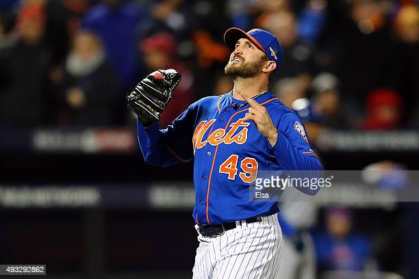 Jonathon Niese of the New York Mets celebrates after striking out Anthony Rizzo of the Chicago Cubs to close out the top of the sixth inning during...