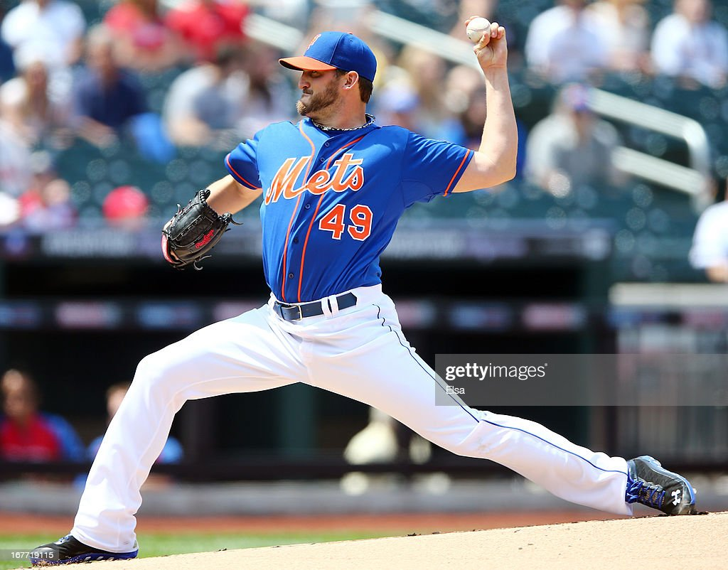 Jonathon Niese #49 of the New York Mets delivers a pitch in the first inning against the Philadelphia Phillies on April 28, 2013 at Citi Field in the Flushing neighborhood of the Queens borough of New York City.