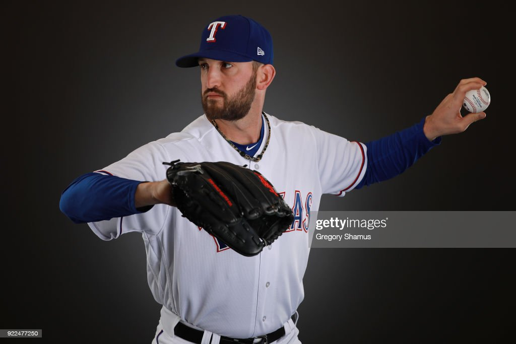Jonathon Niese #49 of the Texas Rangers poses during Texas Rangers Photo Day at the Surprise Stadium training facility on February 21, 2018 in Surprise, Arizona.