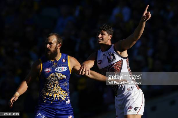 Jonathon Patton of the Giants calls for the ball during the round 10 AFL match between the West Coast Eagles and the Greater Western Giants at Domain...