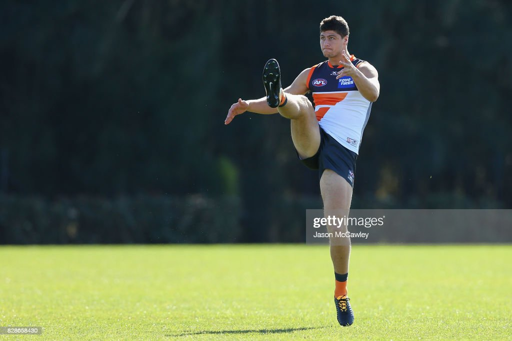 Jonathon Patton of the Giants kicks during a Greater Western Sydney Giants AFL training session at Sydney Olympic Park on August 10, 2017 in Sydney, Australia.