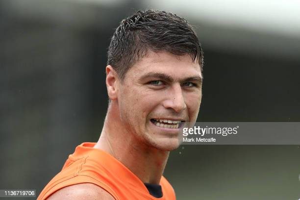 Jonathon Patton of the Giants looks on during the Greater Western Sydney Giants training session at Sydney Olympic Park Sports Centre on March 19,...