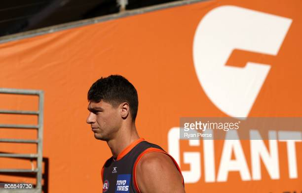 Jonathon Patton of the Giants prepares to train during a Greater Western Sydney Giants AFL training session at Spotless Stadium on July 5, 2017 in...