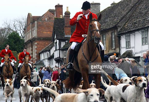 Jonathon Seed Joint Master and Huntsman with the Avon Vale Hunt leads the hounds and fellow riders for their traditional Boxing Day hunt on December...