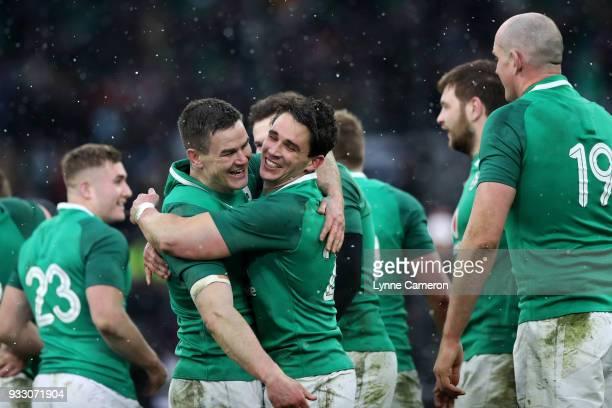 Jonathon Sexton and Joey Carbery of Ireland celebrate after winning the Six Nations Championship match between England and Ireland at Twickenham...