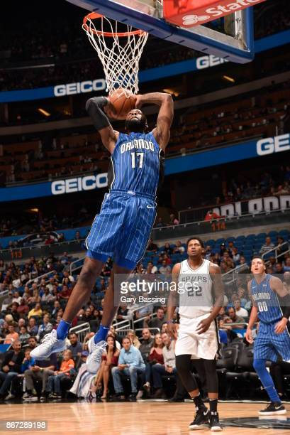 Jonathon Simmons of the Orlando Magic drives to the basket against the San Antonio Spurs on October 27 2017 at Amway Center in Orlando Florida NOTE...