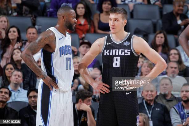 Jonathon Simmons of the Orlando Magic faces off against Bogdan Bogdanovic of the Sacramento Kings on March 9 2018 at Golden 1 Center in Sacramento...
