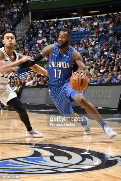 Jonathon Simmons of the Orlando Magic handles the ball against the San Antonio Spurs on October 27, 2017 at Amway Center in Orlando, Florida. NOTE TO...