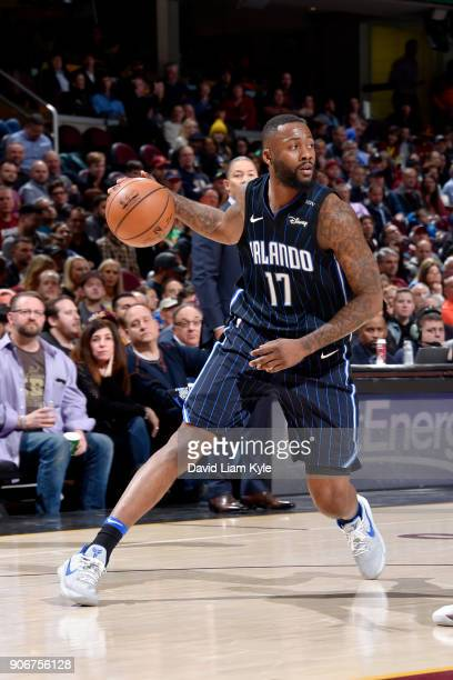 Jonathon Simmons of the Orlando Magic handles the ball during the game against the Cleveland Cavaliers on January 18 2018 at Quicken Loans Arena in...