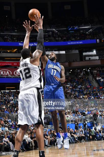 Jonathon Simmons of the Orlando Magic shoots the ball against the San Antonio Spurs on October 27, 2017 at Amway Center in Orlando, Florida. NOTE TO...