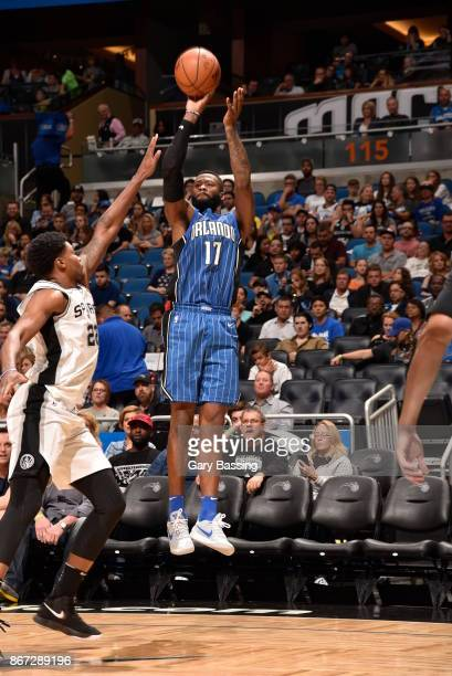 Jonathon Simmons of the Orlando Magic shoots the ball against the San Antonio Spurs on October 27 2017 at Amway Center in Orlando Florida NOTE TO...