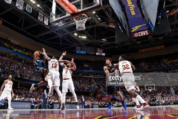 Jonathon Simmons of the Orlando Magic shoots the ball during the game against the Cleveland Cavaliers on January 18 2018 at Quicken Loans Arena in...