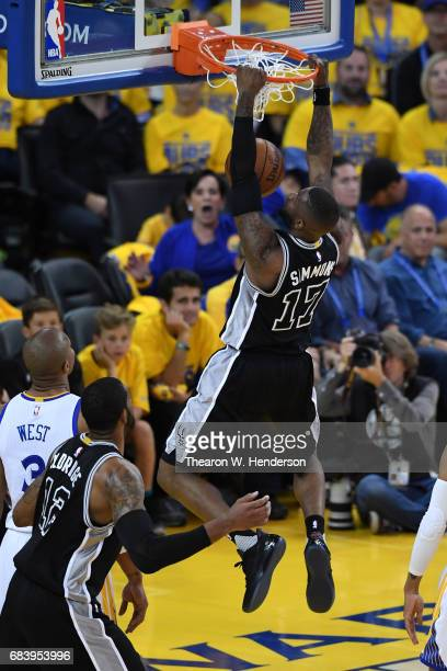 Jonathon Simmons of the San Antonio Spurs dunks the ball against the Golden State Warriors during Game Two of the NBA Western Conference Finals at...
