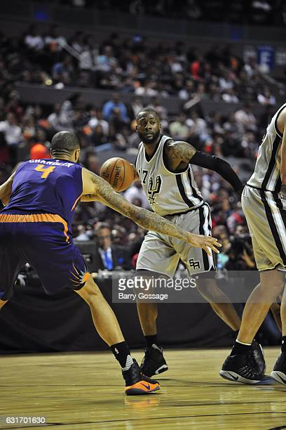 Jonathon Simmons of the San Antonio Spurs passes the ball against the Phoenix Suns as part of NBA Global Games at Arena Ciudad de Mexico on January...