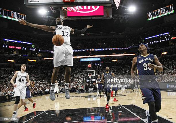 Jonathon Simmons of the San Antonio Spurs reacts after a dunk against the New Orleans Pelicans at ATT Center on December 18 2016 in San Antonio Texas...