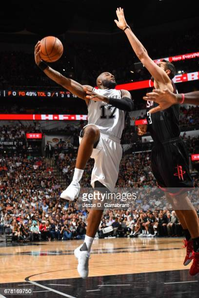 Jonathon Simmons of the San Antonio Spurs shoots the ball against the Houston Rockets during Game Two of the Western Conference Semifinals of the...