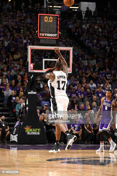Jonathon Simmons of the San Antonio Spurs shoots the ball at the buzzer against the Sacramento Kings on October 27 2016 at the Golden 1 Center in...