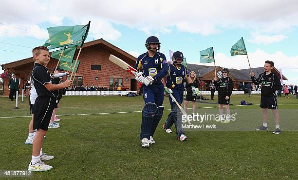 Jonathon Webb and Ian Bell open the batting for Warwickshire ahead of the Royal London OneDay Cup match between Nottinghamshire and Warwickshire at...