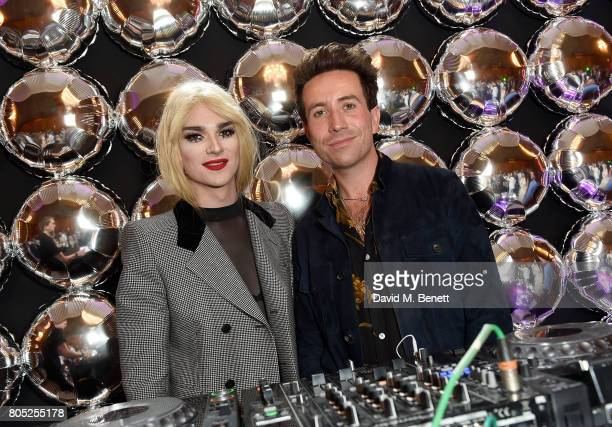 JonBenet Blonde and Nick Grimshaw DJ at the Tinder Pride 2017 Party at The Ned on July 1 2017 in London England The party hosted by Tinder at The Ned...