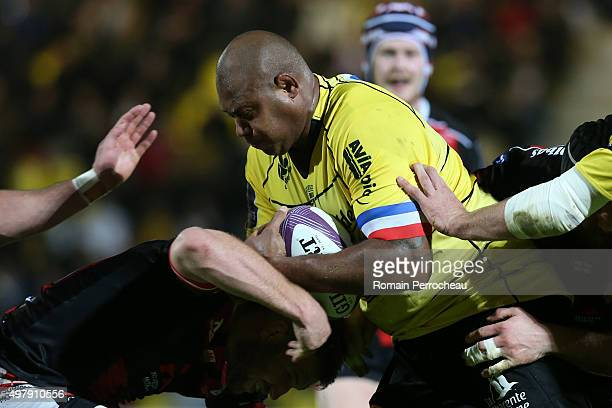 Jone Qovu for La Rochelle in action during the European Rugby Challenge Cup match between La Rochelle and Gloucester at Stade Marcel Deflandre on...
