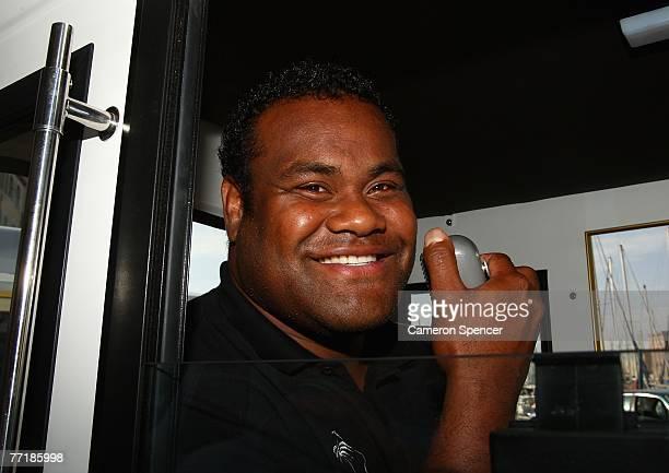 Jone Railomo of Fiji talks to teammates on a loud speaker on a tourist bus ride heading for the Basilique NotreDame de la Garde on October 4 2007 in...