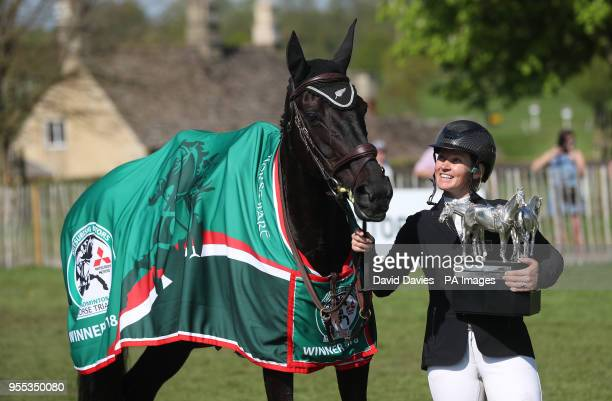 Jonelle Price celebrates her victory with Classic Moet during day five of the Mitsubishi Motors Badminton Horse Trials at The Badminton Estate...
