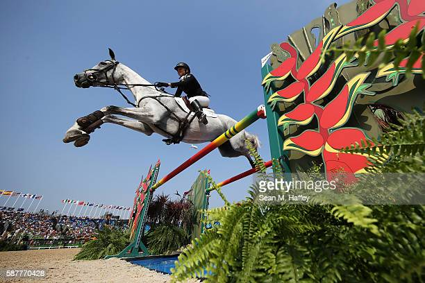 Jonelle Price of New Zealand riding Faerie Dianimo during the eventing team jumping final and individual qualifier on Day 4 of the Rio 2016 Olympic...