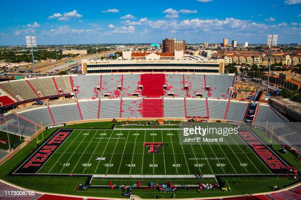 Jones AT&T Stadium is pictured before the college football game between the Texas Tech Red Raiders and the UTEP Miners on September 07, 2019 in...