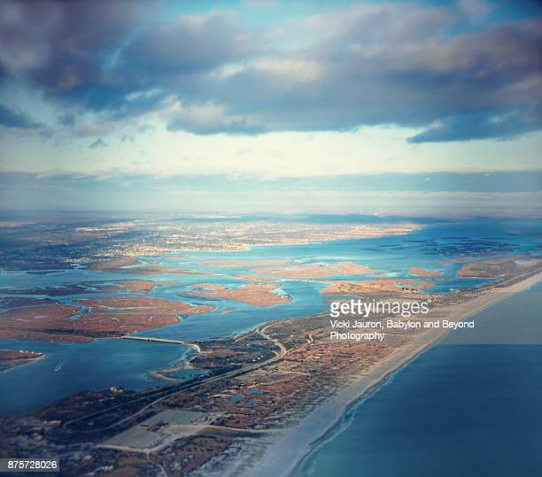 jones beach and fire island aerial view - long island stock pictures, royalty-free photos & images