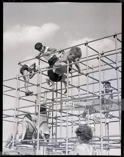 Jones Beach, New York: Children playing on Playground. Undated photo. BPA2# 2079