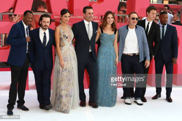 Jones Edgar Wright Eiza Gonzalez Jon Hamm Lily James Kevin Spacey Ansel Elgort and Jamie Foxx attend the European premiere of Baby Driver on June 21...