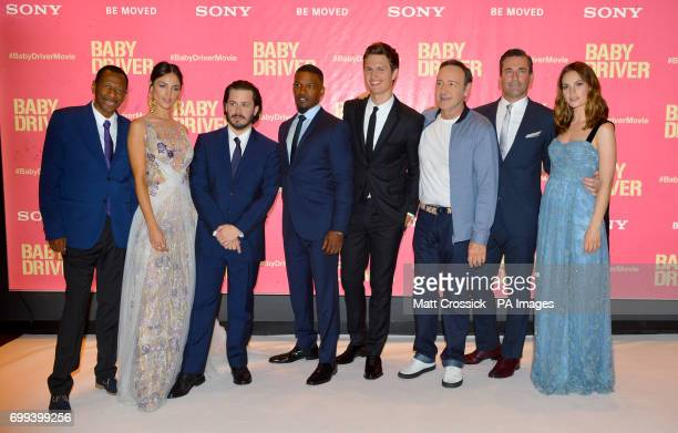 CJ Jones Eiza Gonzalez Edgar Wright Jamie Foxx Ansel Engort Kevin Spacey Jon Hamm and Lily James attending the Baby Driver premiere held at Cineworld...